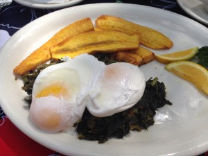 Eggs and callaloo with plaintain