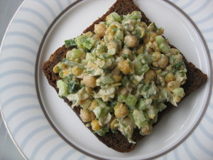 Delicious chickpea salad on rye toast