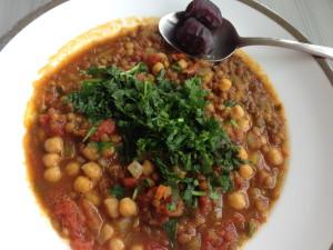 Delicious vegetarian harira soup, dates are essential